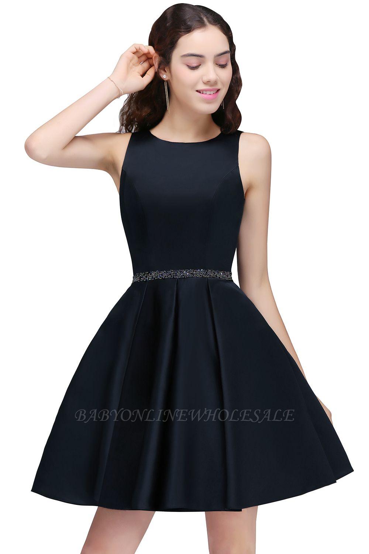BRIANNA | A-Line cuello redondo corto Dark Navy vestidos de fiesta con cristal