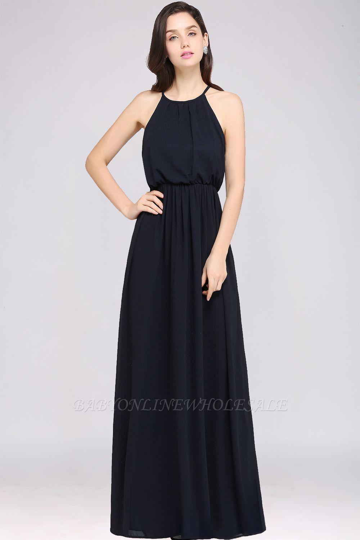 CHEYENNE | A-line Floor-length Chiffon Navy Blue Simple Prom Dress