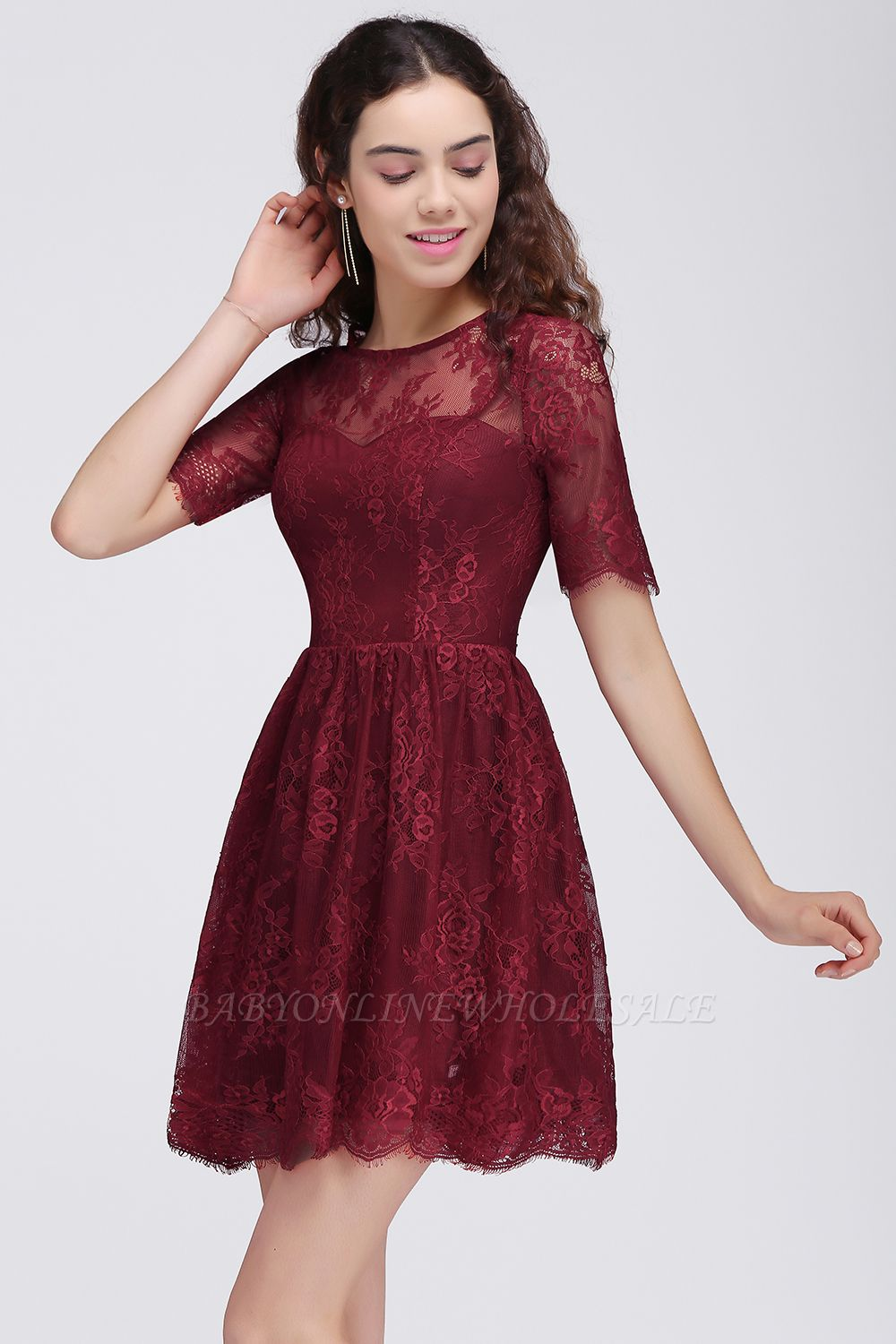 BRITTANY | A-Line Round Neck Short Lace Burgundy Homecoming Dresses