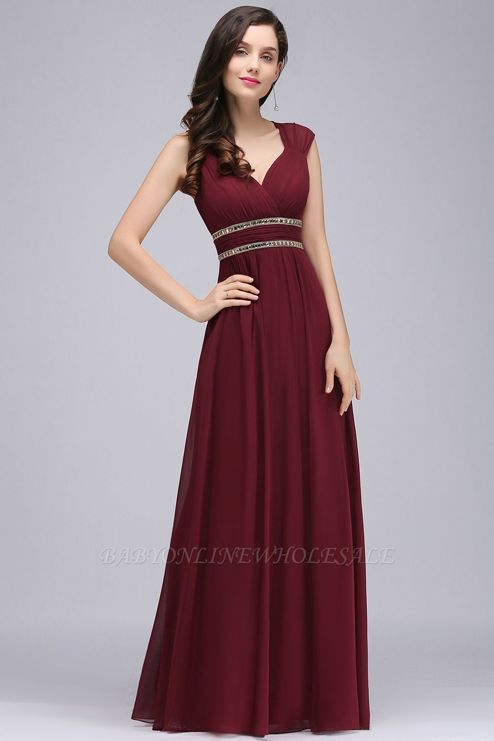 ALISON | Sheath V Neck Burgundy Chiffon Long Evening Dresses With Beads