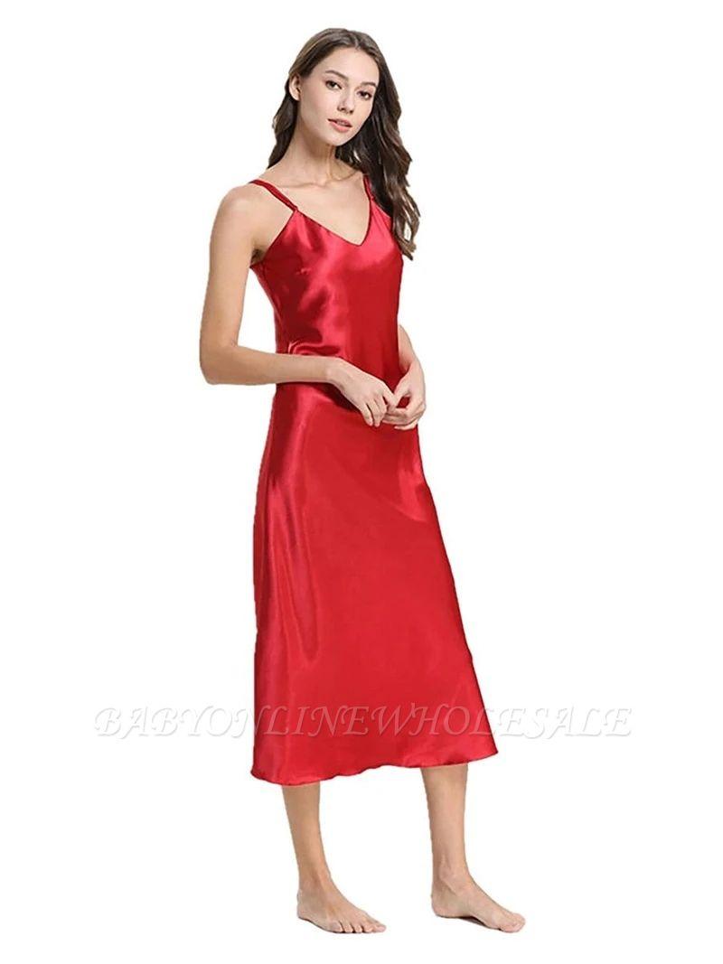 Chemise de nuit en ligne de pyjama rouge en soie imitation soie pour femmes élégantes