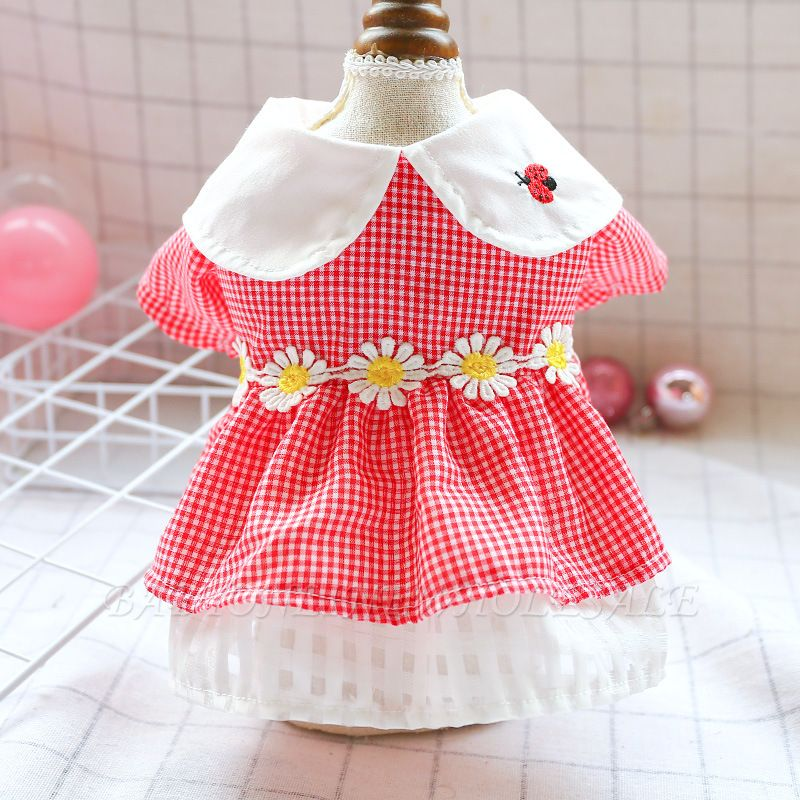 Short Sleeve Grid Pets Skirt with Collar For Puppy