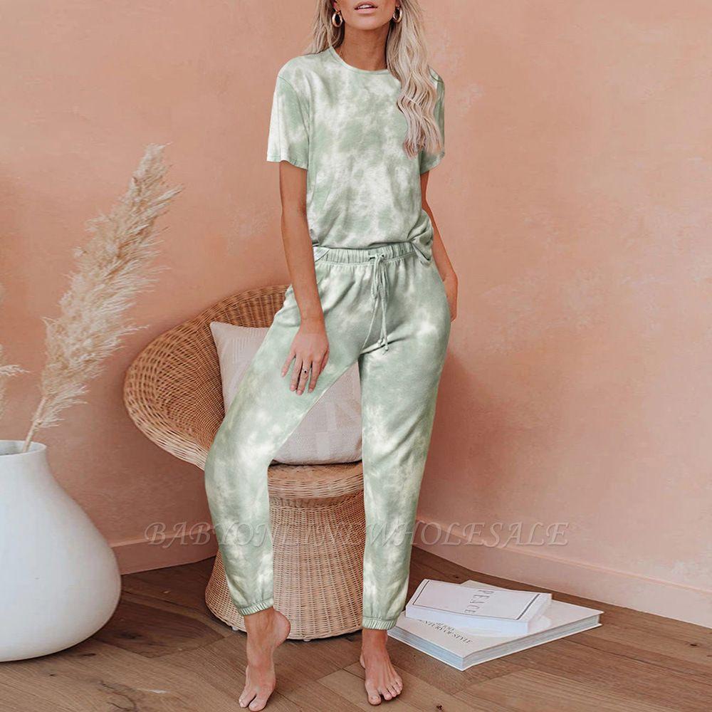 Tie-dye Pijamas de manga corta Impresión en línea Ocio Damas Ropa de hogar en línea
