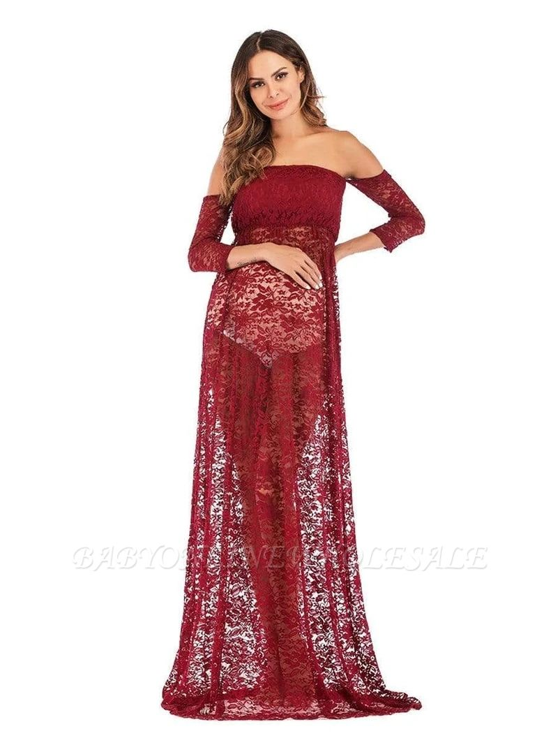 Sexy Strapless Burgundy Half-sleeves See-through Lace Maternity Dress