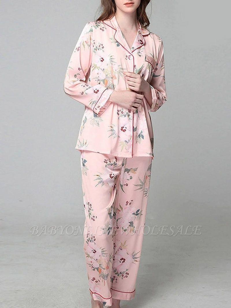 Loisirs Femmes à manches longues en soie glacée imprimé pyjamas chemise de nuit en ligne