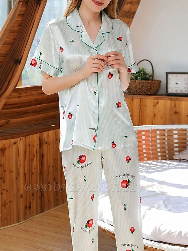 Beautiful Two-pieces Imitation Silk Printed Pajamas Online Sets Online