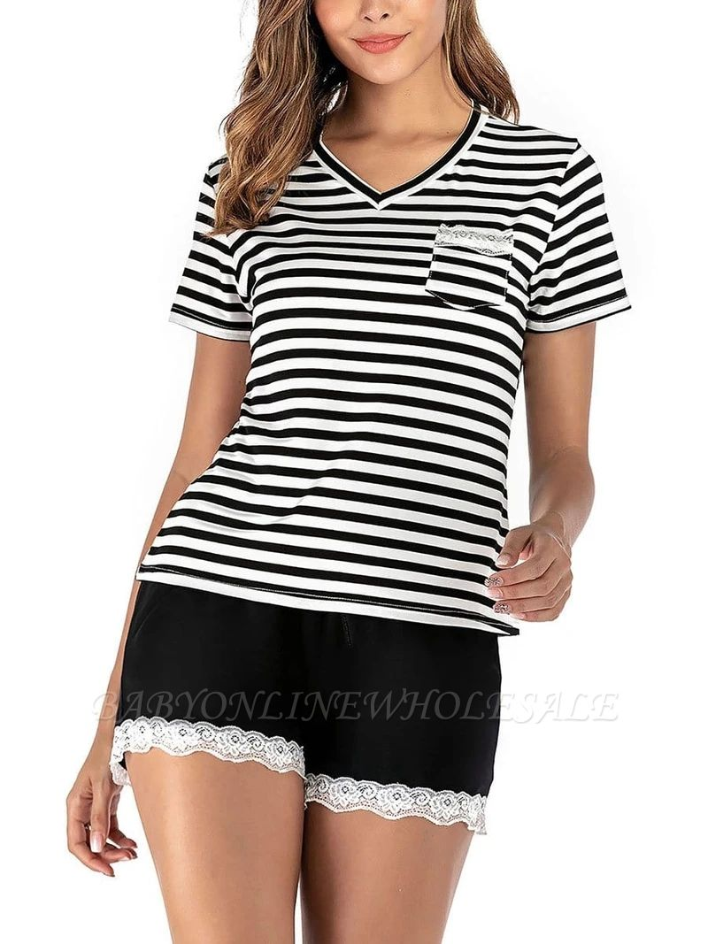 Two Pieces V Neck Lace Nightwear Modern Stripes Pajamas Online