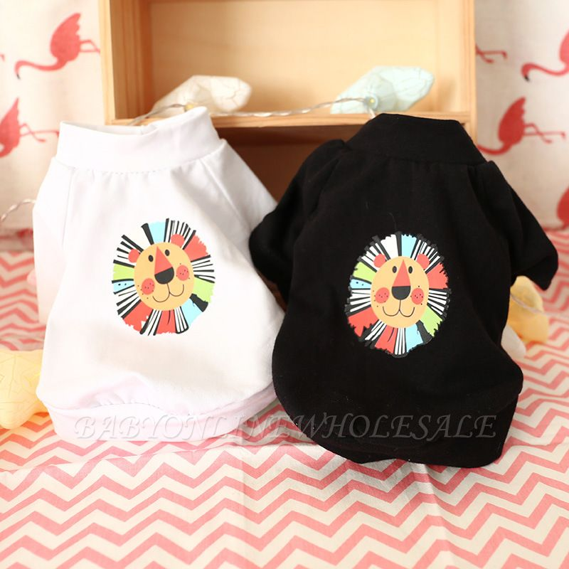 Lovely White Short Sleeve Pattern Pets T-Shirts   Dog Cloth For Puppy