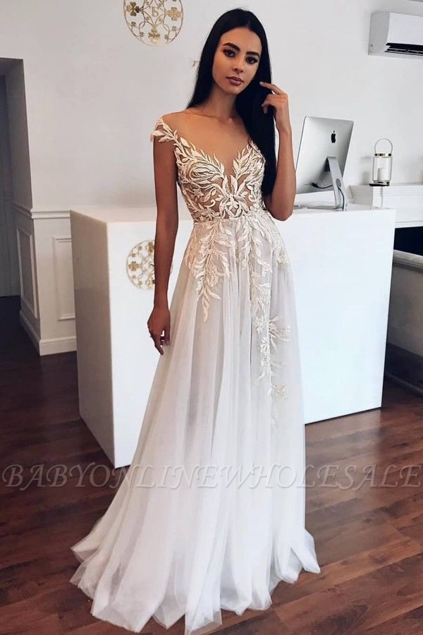 Appliques Sheer Tulle A-line Wedding Dresses | Sleeveless Tulle Pleated Bridal Gowns