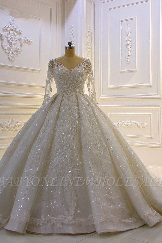Sparkle 3D Lace Appliques Long Sleeves Church Train Wedding Dress