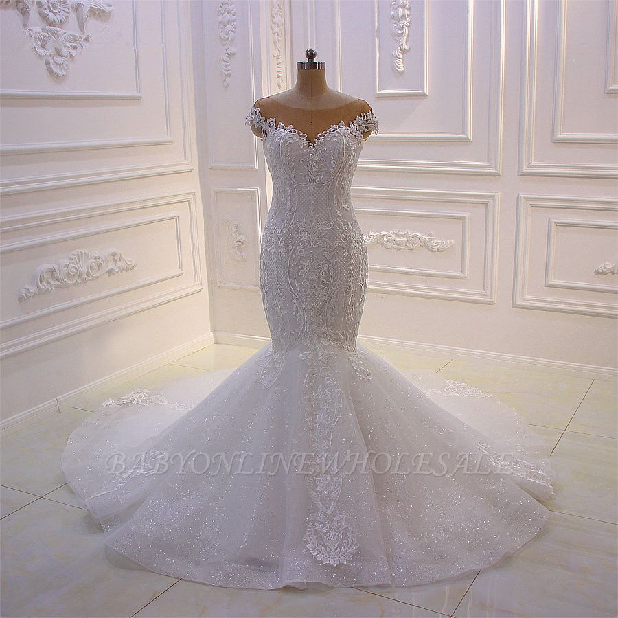 Off-the-Shoulder Sweetheart White Lace Appliques Tulle Mermaid Wedding Dress