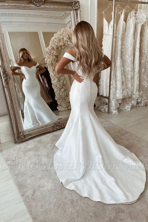 Off The Shoulder Mermaid Wedding Dresses | Chic Sleeveless Bridal Gowns Online