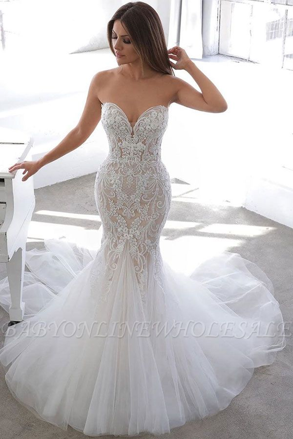 Simple Summer style White Sweetheart Mermaid Lace Wedding Dress Online
