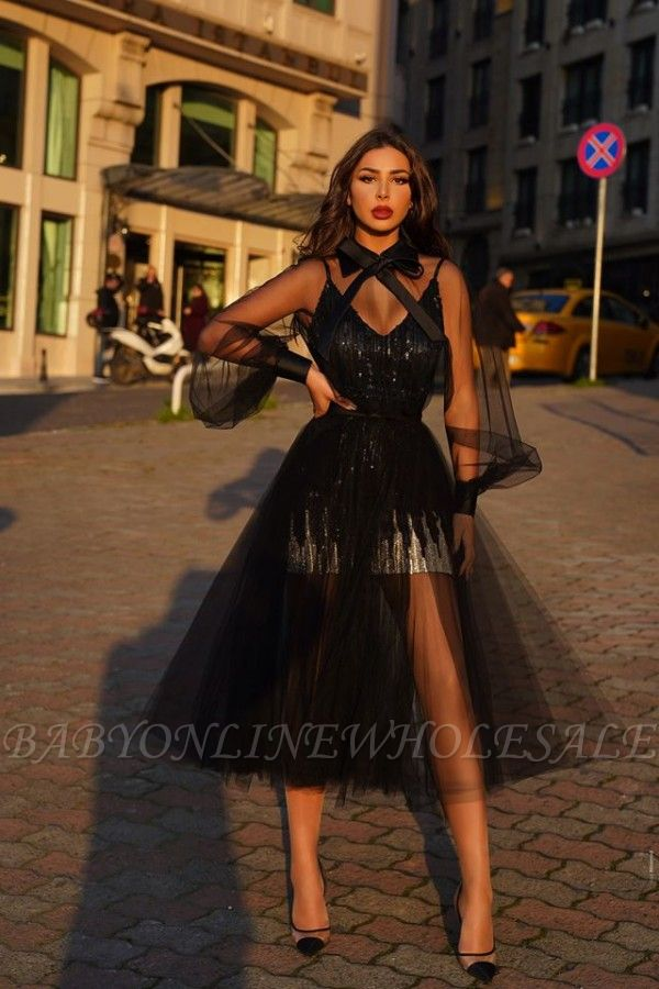 See-through High neck V-neck Black Tulle Princess Homecoming Dresses