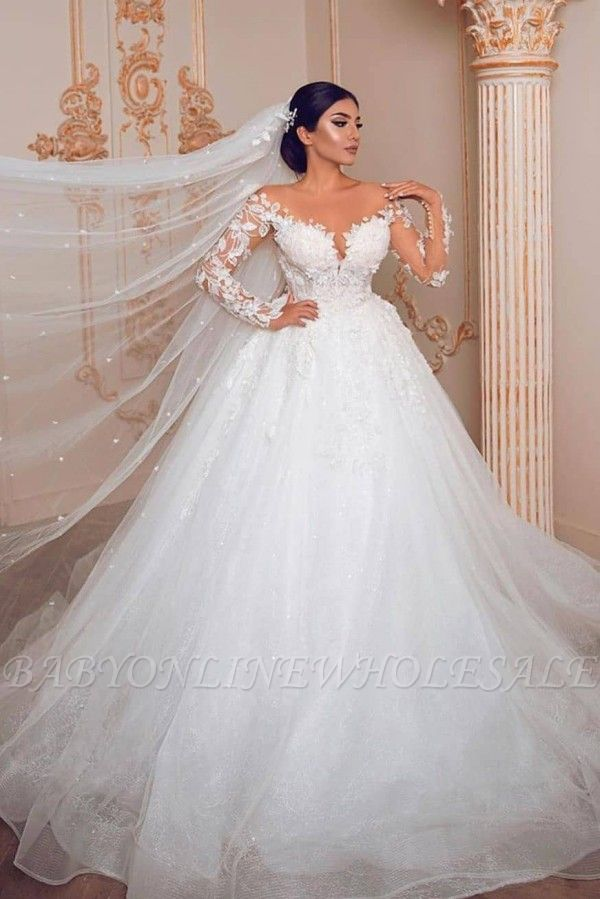 Appliques Sheer Tulle Ball Gown Wedding Dresses | Shiny Long Sleeve Cheap Bridal Gowns