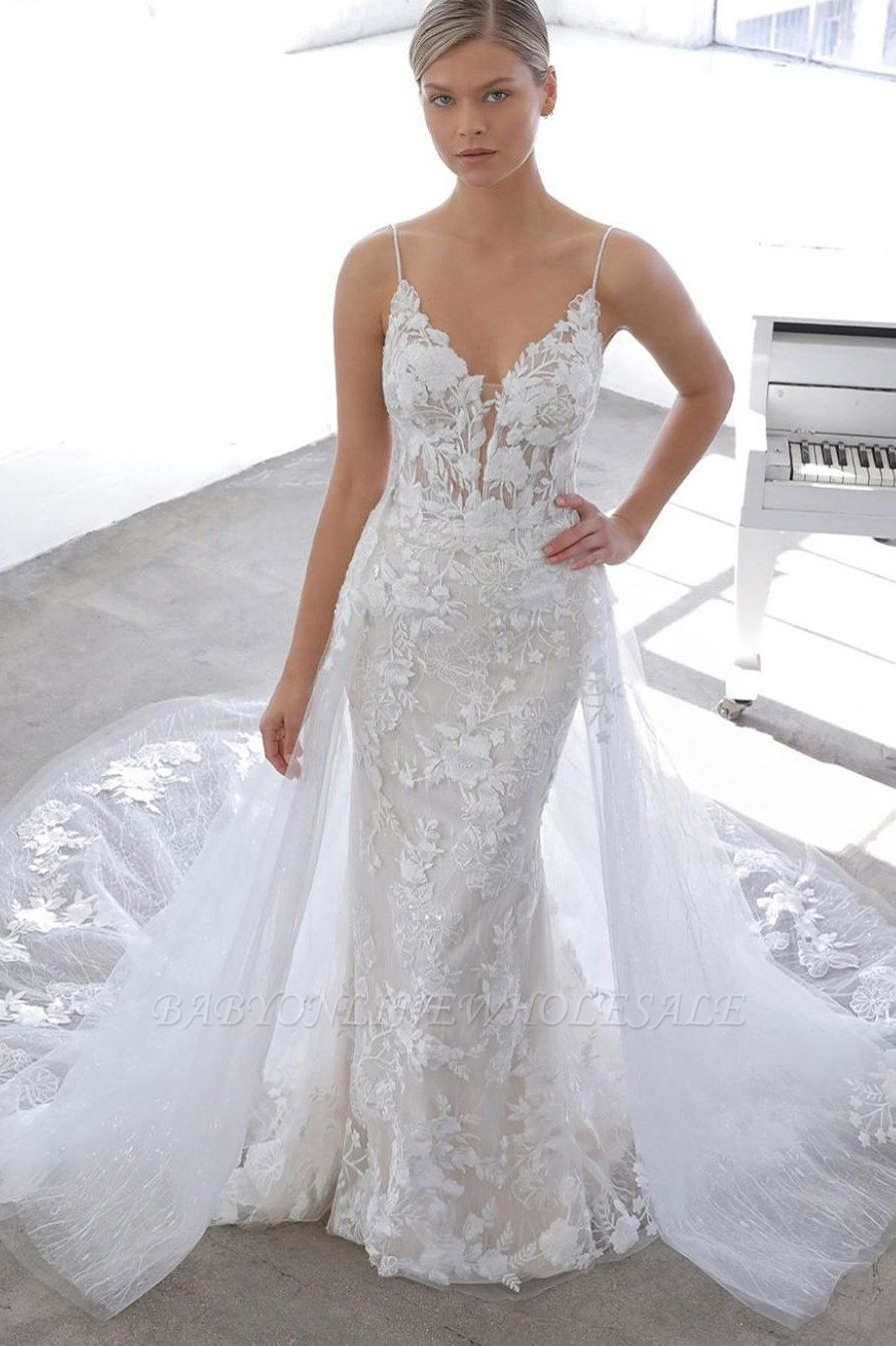 Spaghetti Strap See-through Lace Column Long Wedding dress with Tulle Overskirt