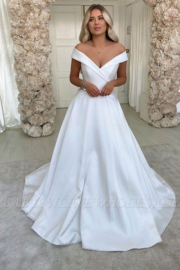 Robes de mariée A-ligne simples rétro blanches à l'épaule