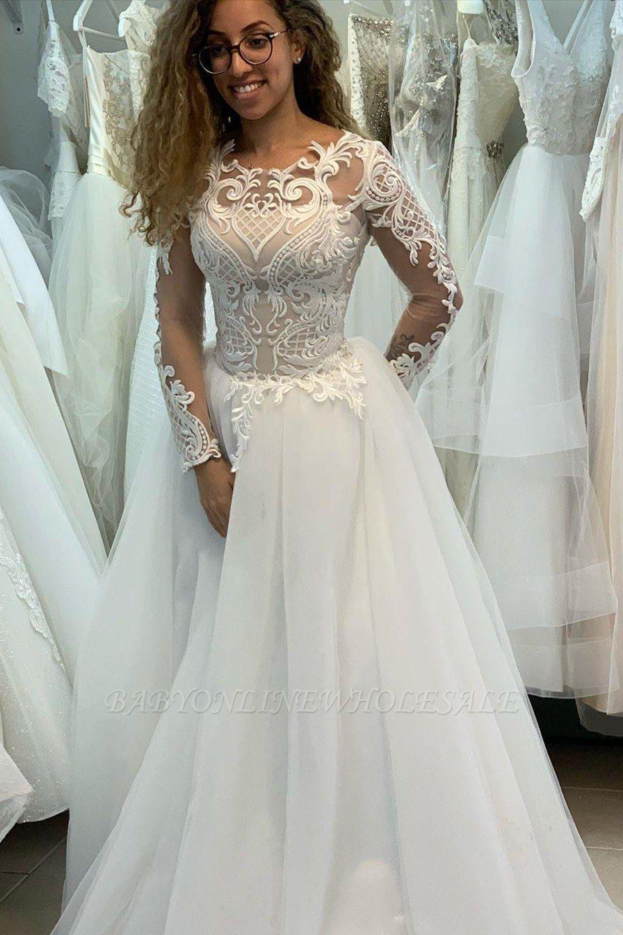 Manches longues Col Illusion A-ligne Manches longues Robe de mariée princesse en dentelle
