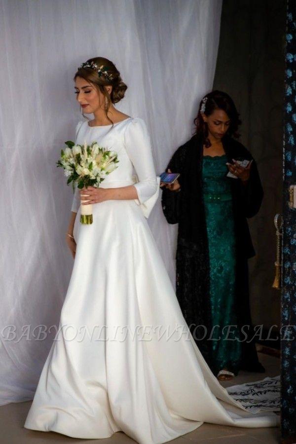 Élégantes robes de mariée à manches longues A-ligne | Appliques robes de mariée pas chères en ligne