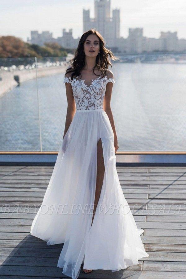Off The Shoulder Appliques A-line Wedding Dresses | Cheap Side Split Tulle Bridal Gowns