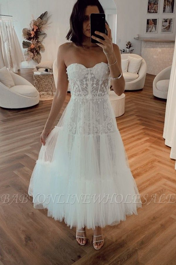 Vintage White Strapless Short Summer Tulle Wedding Dress
