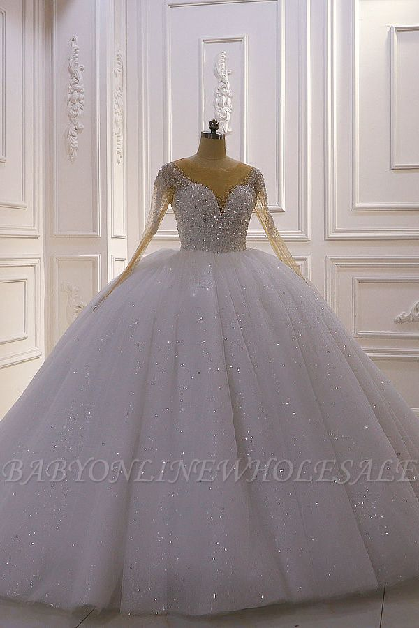 Sparkly Jewel Sequined Long Sleeves Princess Wedding Dress