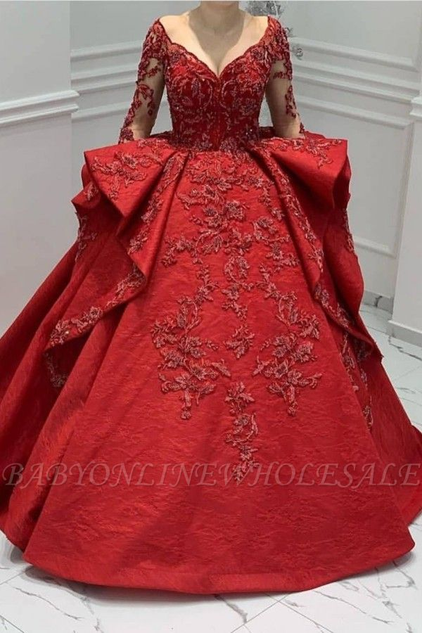Burgundy Lace Appliques Long sleeves V-neck Ruffles Ball Gowns Evening Gowns