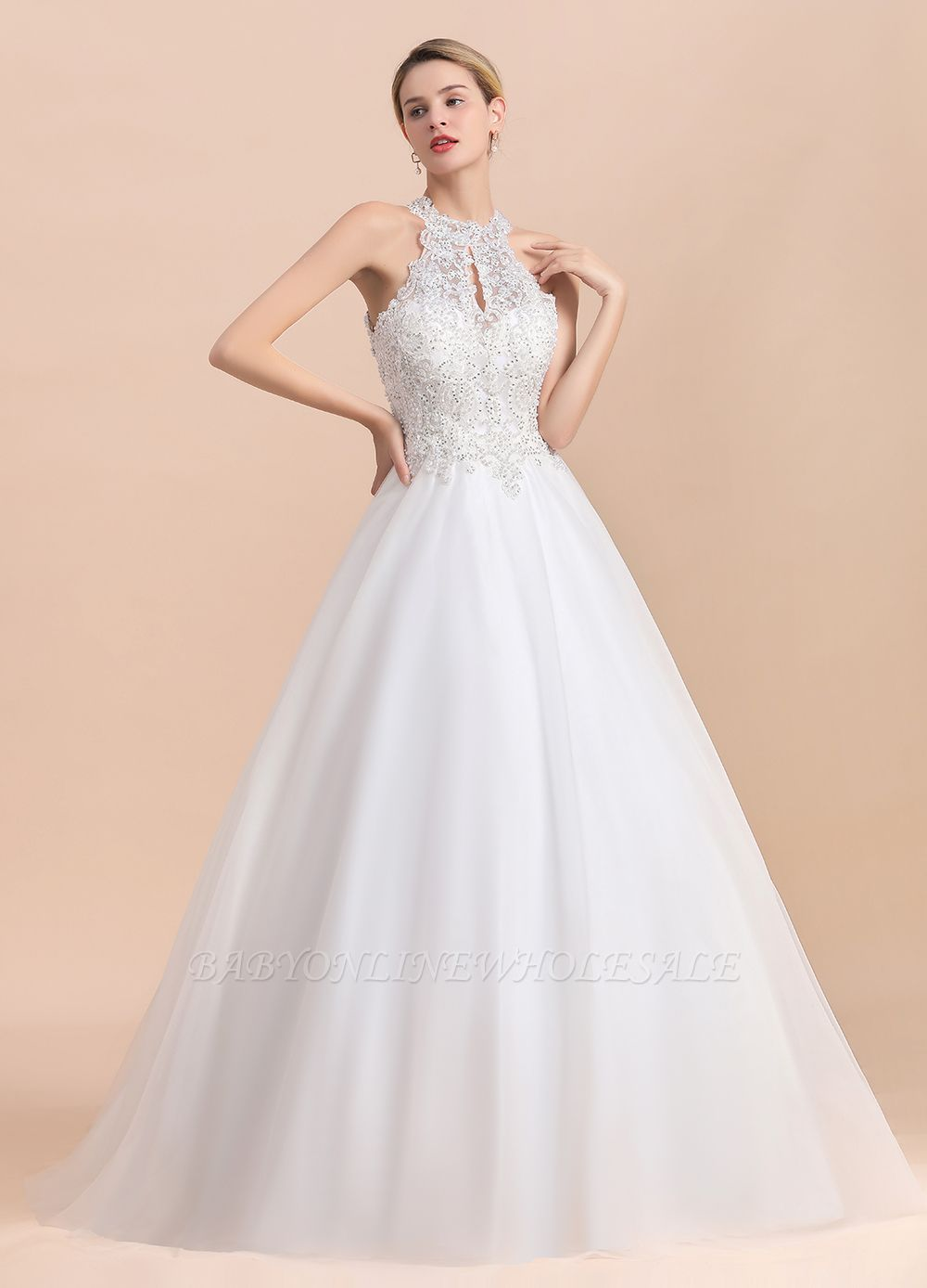 Gorgeous Halter Rhinstones Wedding Dress White Lace Appliques Tulle Garden Bridal Gowna