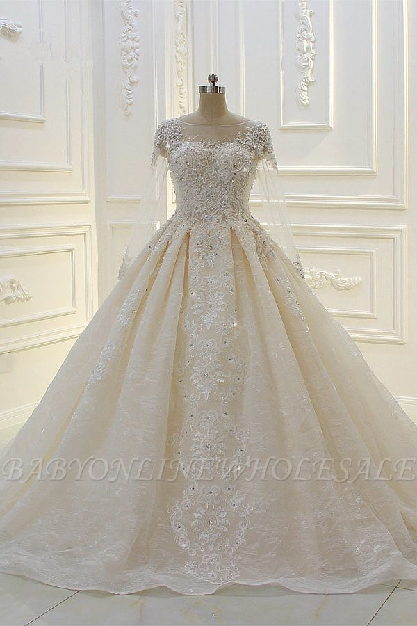 Luxury Ball Gown Long Sleeves Lace Applqiues Beadings Wedding Dress