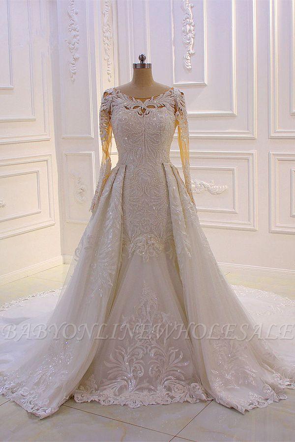 Elegant Jewel Long Sleeves Tulle Lace Sparkle Ivory Wedding Dress