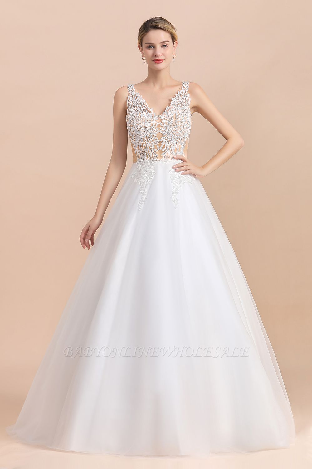 Elegant V-Neck Floral Lace A-line Wedding Dress Beach Sleeveless Tulle Church Dress