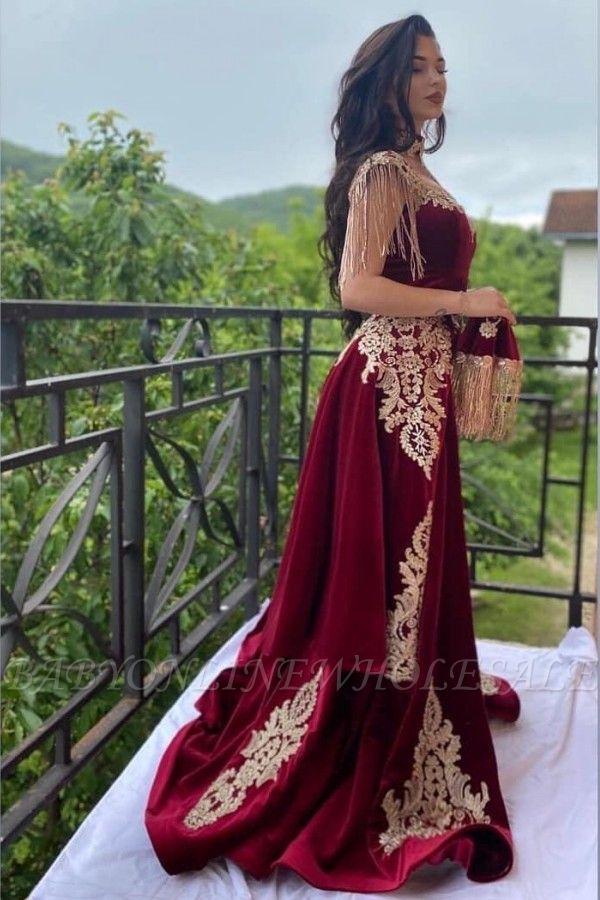 Wine red evening dresses long Yellow Floral Appliques | Velvet evening wear online