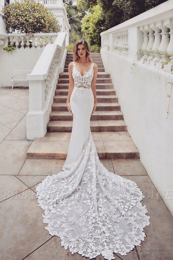 Gorgeous Train Sleeveless V-neck Lace mermaid wedding dresses