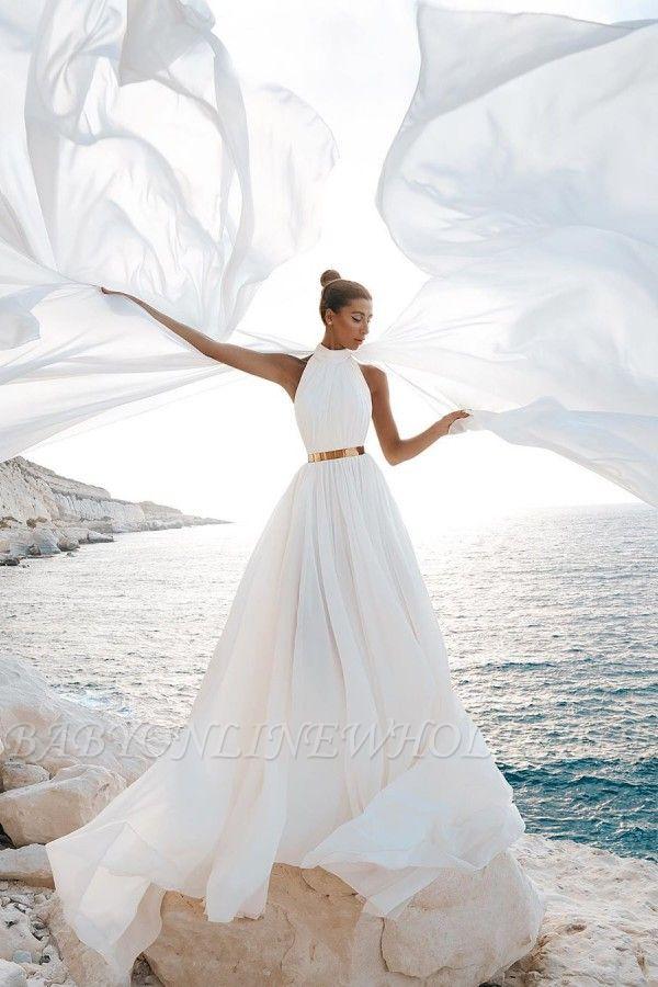 Halter White Chiffon Beach Wedding Dress Long Simple Bridal Dress with Split