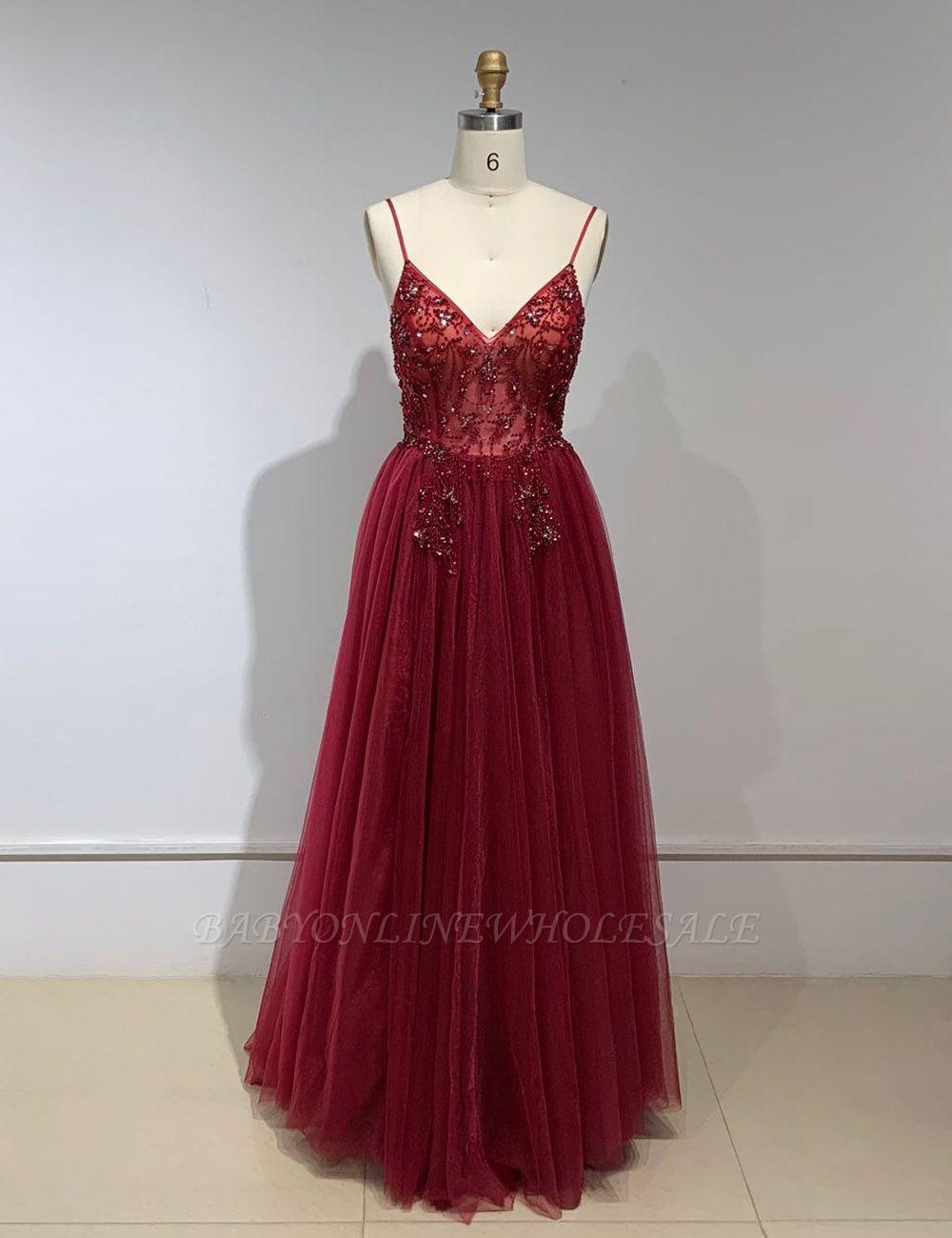 Robes de bal en cristal chérie bretelles robe de soirée en tulle spaghetti côté fendu
