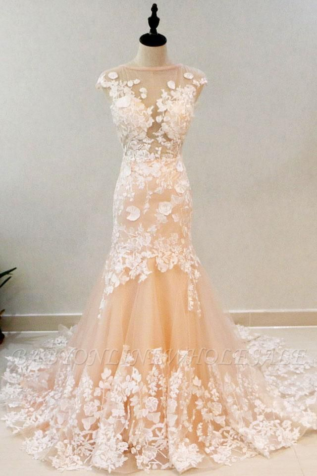 Peach Mermaid  Formal Prom Evening Dress Sleeveless Tulle Lace Appliques