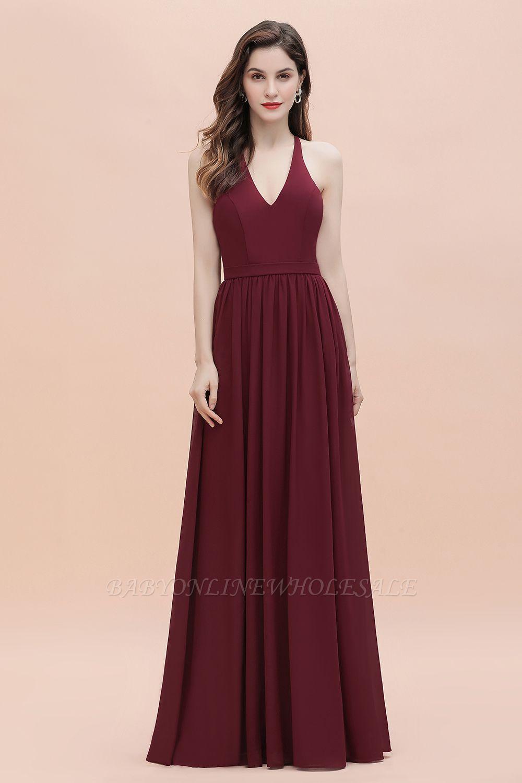 Burgundy Sleeveless V-neck Beaded Back Chiffon Bridesmaid Dress