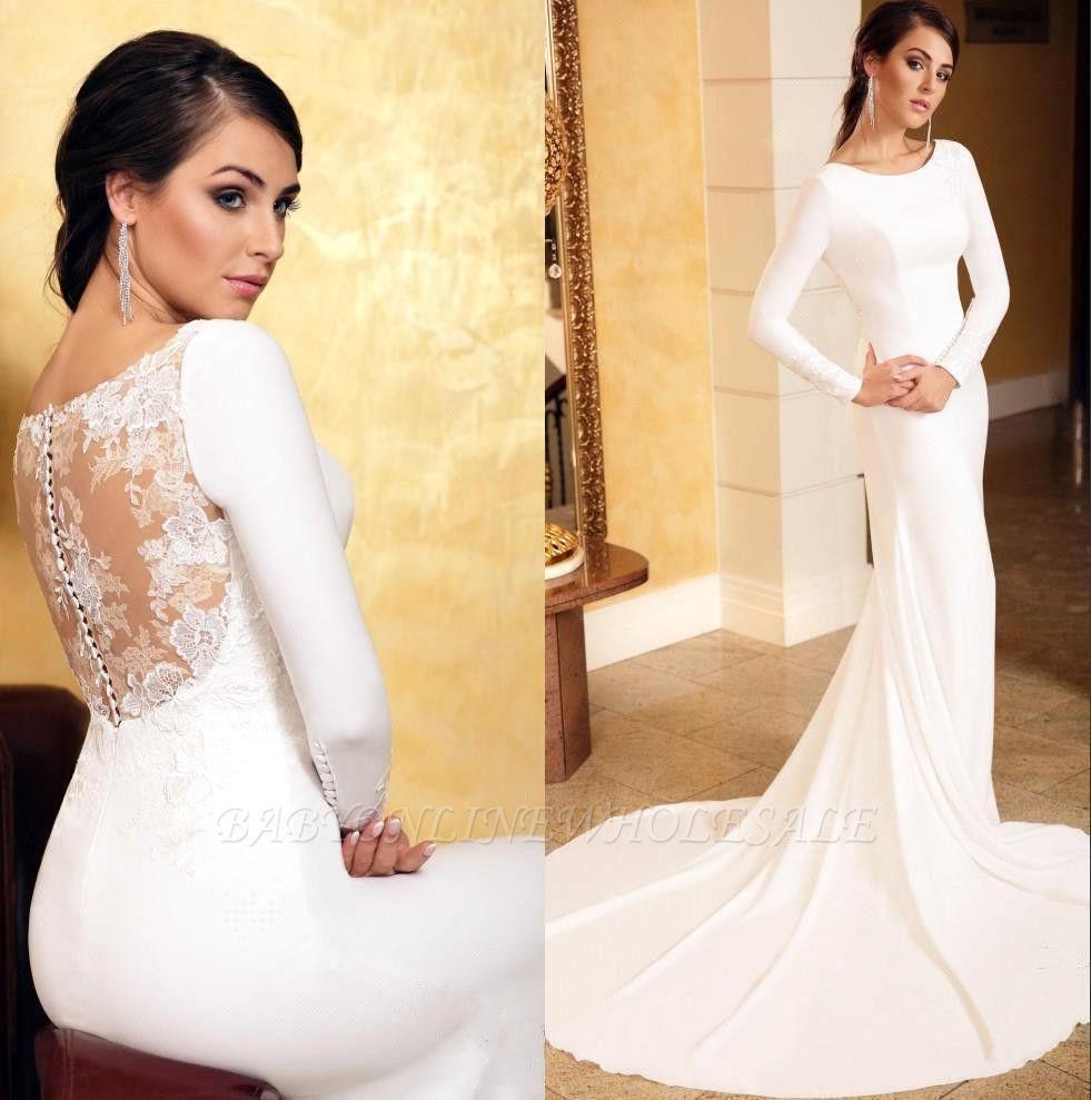 Elegant Mermaid Evening Dress Slim Long Sleeve Floral Lace with train