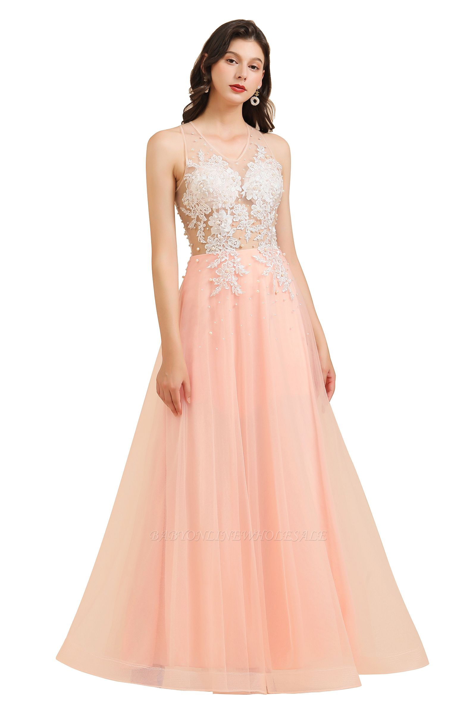 Apliques de encaje de cuello redondo simple Vestido de noche rosado de una línea