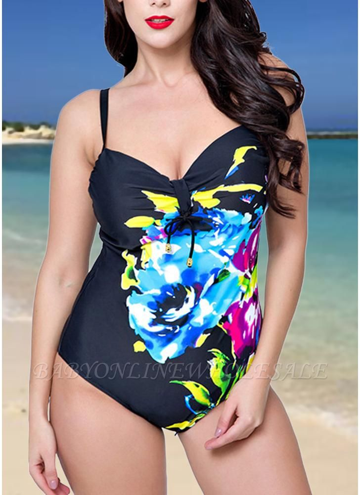 Plus Size One Piece Swimsuit Floral Underwire Push Up Monokini