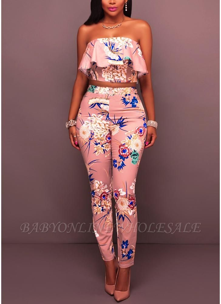Blumendruck Rüschen aus der Schulter Backless Fashion Frauen zweiteilige Set