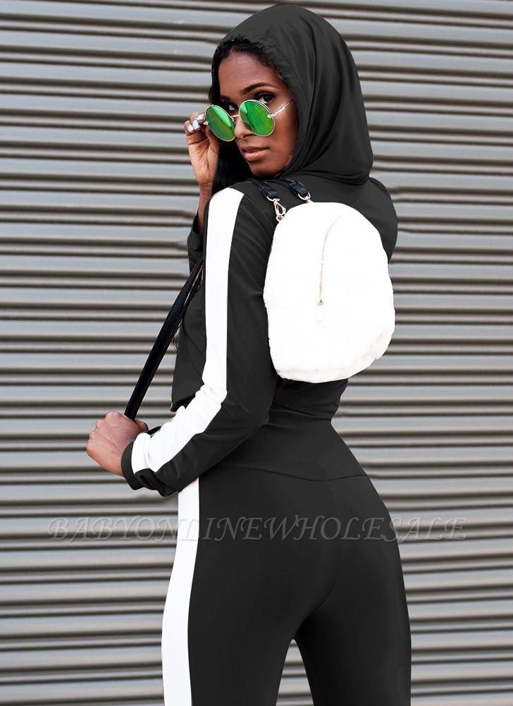 Women Sport Set Crop Hoodies Long Sleeves Splicing Side Tights Set
