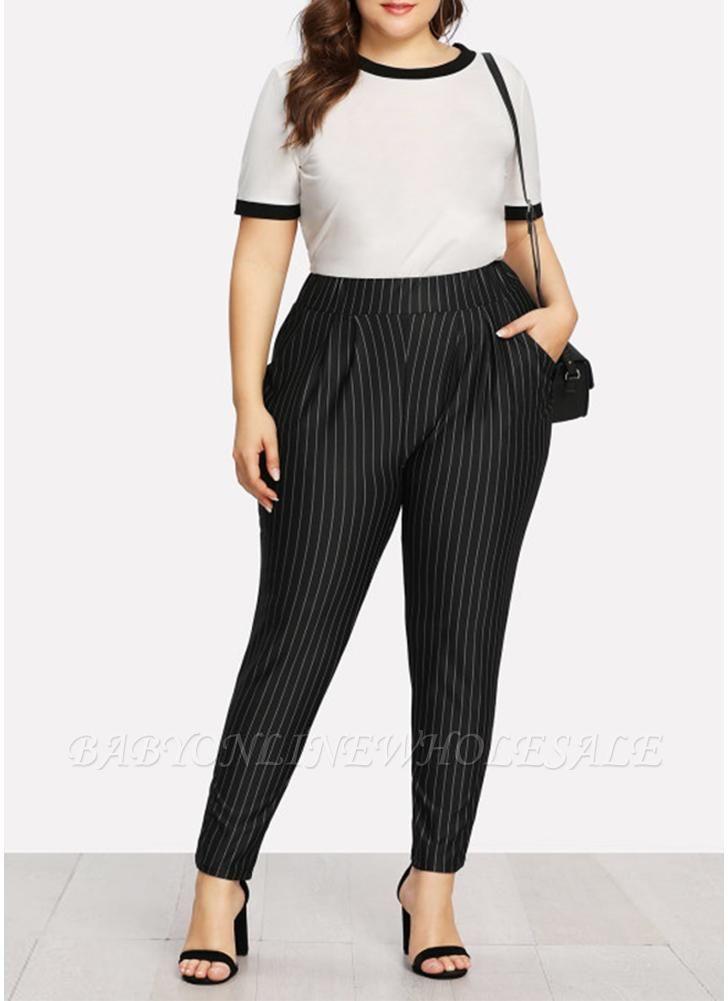 Plus Size Striped Print Hohe Taille Tasche OL Hosen