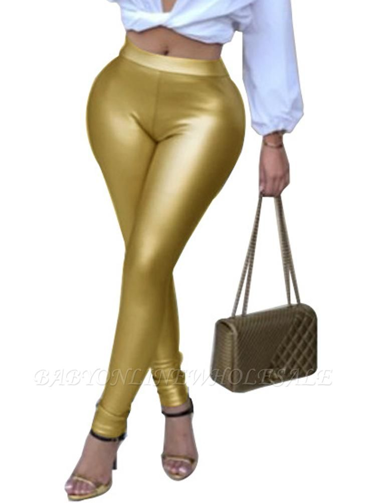 Shiny Metallic Color Elastic Waist Skinny Sexy Pencil Pants
