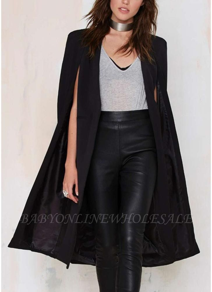 Automne Femmes Manteau Long Blazer Manteau Cape Cardigan Veste Bureau Slim OL Costume Casual Solide
