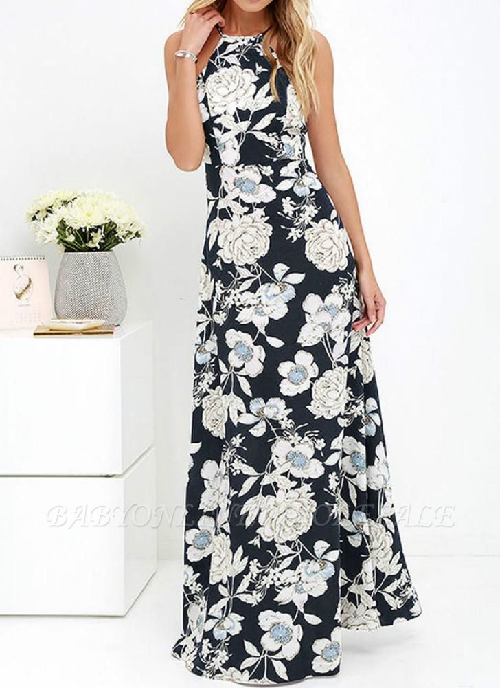 Sommer-Neckholder-Blumendruck-Sleeveless Maxi-Kleid der Frauen