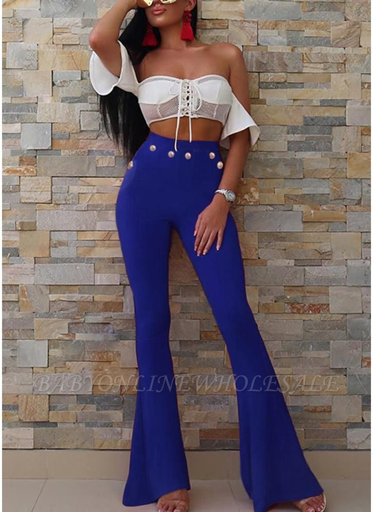 Sexy Women Button Bodycon Bell Pants High Waist Flared Buttom Wide Leg Slim Casual Long Trousers