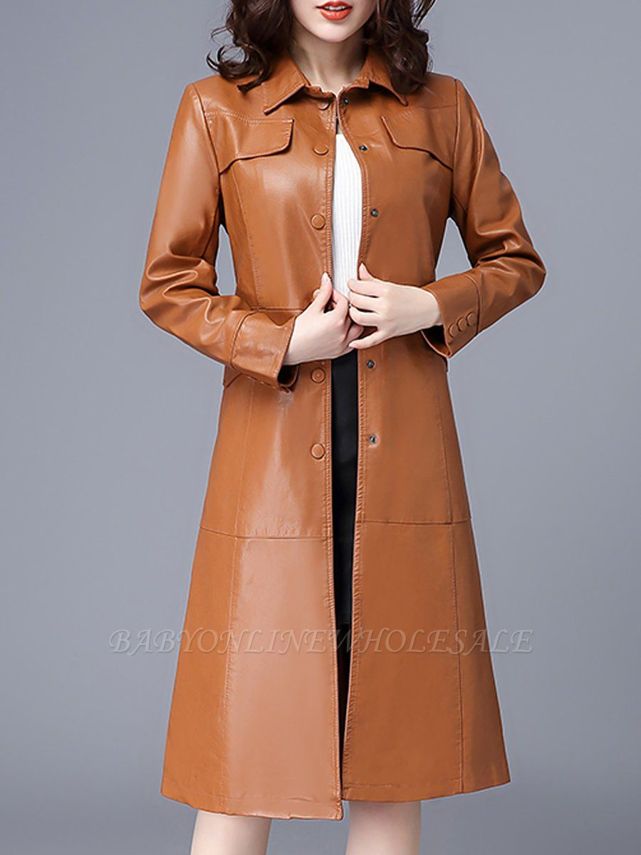 Buttoned Shirt Collar Shift Long Sleeve Casual Pockets Coat