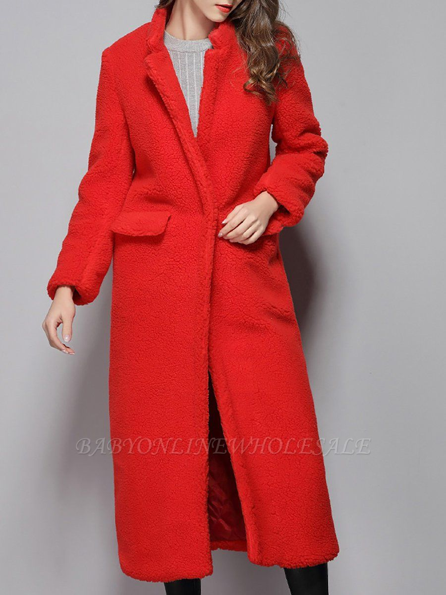 Red Shift Solid Stand Collar Long Sleeve Coat