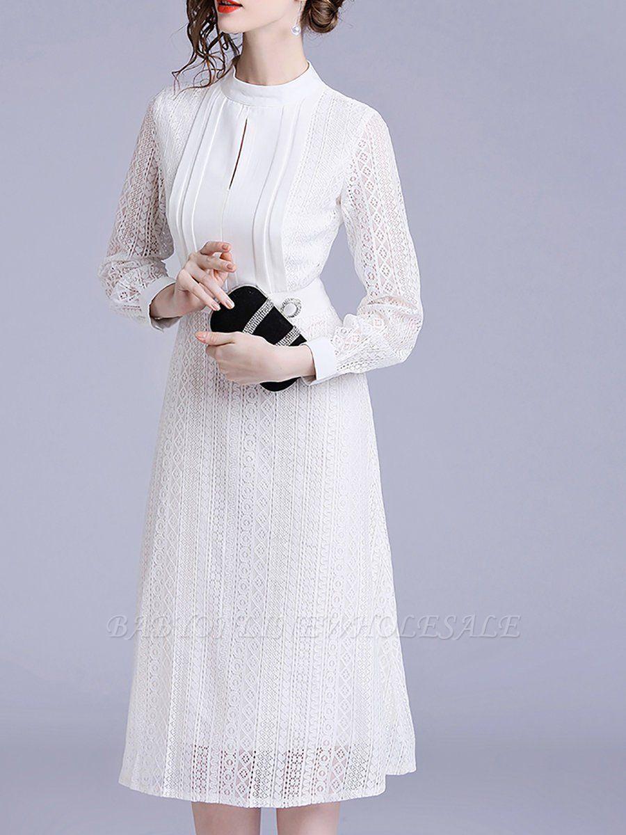 Белое кружево с прозрачным взглядом Guipure Lace A-line Stand Collar Midi Dresses